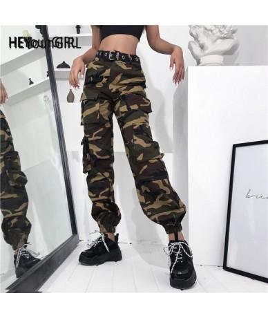 Harajuku Military Green Camo Pants Casual High Waist Cargo Pants Women Camouflage Ladies Trousers Pockets Streetwear - no be...