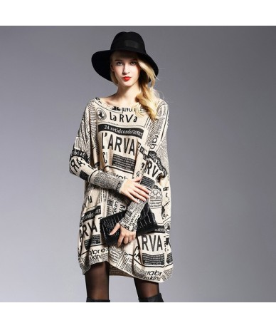 Winter Fall New Plus Size Letter Printed Sweater for Women Loose Fashion Batwing Sleeve Sweaters Pullovers Long Knitwear - A...
