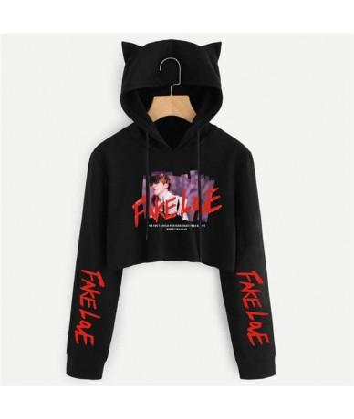 Teenage Hoodies Cat Sweatshirt Women 2018 Party Sexy Female Long Sleeve Cropped Pullover Love Cute Cat Hooded Crop Tops Clot...