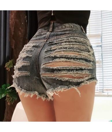 Summer Sexy Denim Shorts Women Hollow Out Sexy Club Punk Rock High Waist Booty Shorts Black White Streetwear XXL - Blue - 4W...