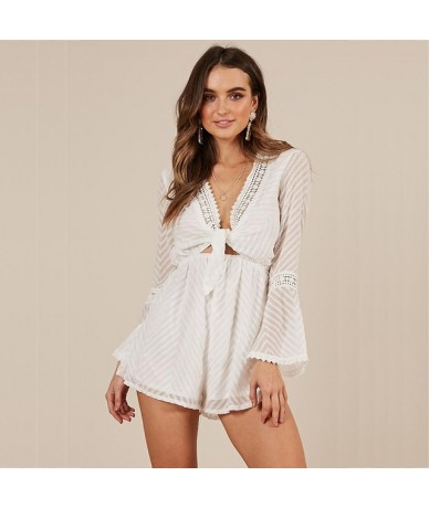 white sexy Transparent short jumpsuit women rompers long sleeve v neck lace up playsuit striped loose red overalls 601 - whi...