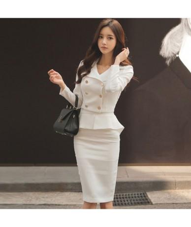 Autumn Office Ladies Women Skirt Suits Double Breasted Blazer & High Waist Ruffle Package Hip Skirt Elegant Workwear Female ...