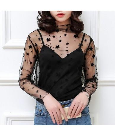 Sexy Harajuku Mesh Tops Women Summer Net See Through T Shirt Hollow Out Transparent Tee Shirt Femme Star Polka Dot Top - sta...