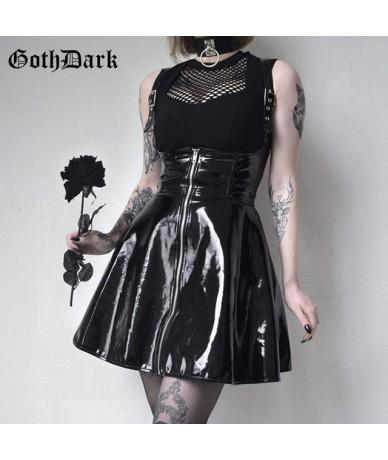 Solid Leather Vintage Skirts Zipper Pleated Slim Gothic Skirt Lady Trendy High Waist Black Short Skirt Female Summer - black...