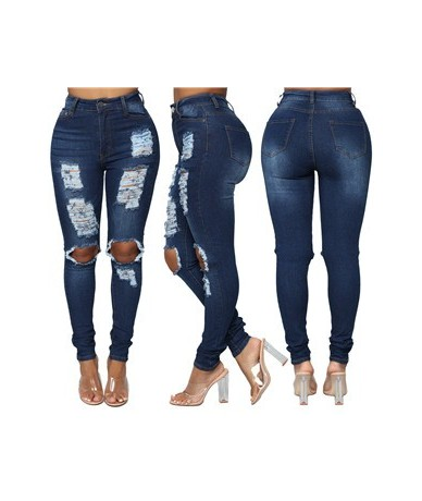 front hollow out back pocket lady denim jeans sexy dark blue ripped jeans high elastic slim ankle jeans pants - Blue - 47412...