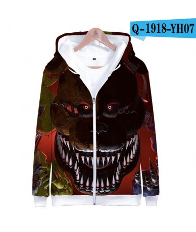 New Five Nights at Freddy 3D Zipper Hoodies Women Spring Skull Print Long Sleeve Funny Hoodie Popular Soft Clothes - Green -...