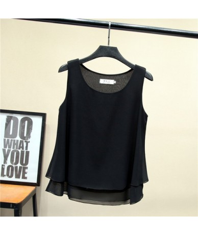 2019 New arrival Women Chiffon shirt Summer Casual sleeveless O-Neck Blouse 13 Solid color Loose Female Tops Plus Size 4XL -...