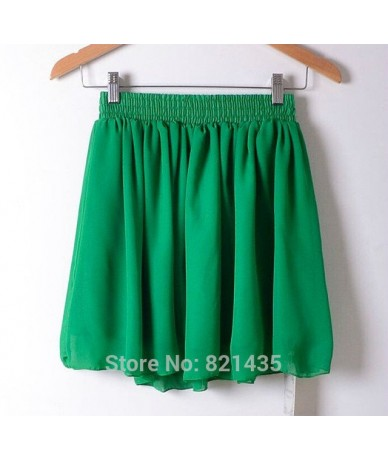 New Fashion High Waist Double Layer Women Chiffon Pleated Skirt Solid Color Plus Size Fashion Candy Color Skirt - dark green...