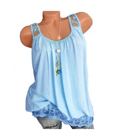 5XL Top women Summer Spaghetti Strap Vest Sleeveless Casual Tank Blusas Top Mesh Patchwork Loose T Shirt Camisole 2019 Plus ...