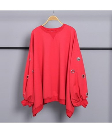 Solid Casual Loose Sweatshirt Female O Neck Long Batwing Sleeve Clothing For Women Fashion New 2019 Summer - red - 4B4165964609