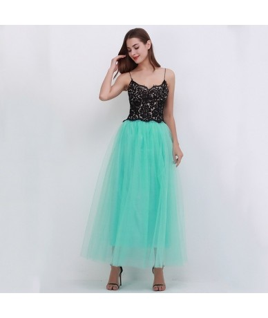 2019 Spring Fashion Womens Lace Princess Fairy Style 4 layers Voile Tulle Skirt Bouffant Puffy Fashion Skirt Long Tutu Skirt...