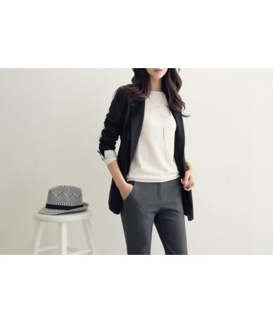 2019 Spring Women Gray Black Color Double Breasted Elegant Blazers and Jackets Causal Korean FashionCoats chaqueta muje - Bl...