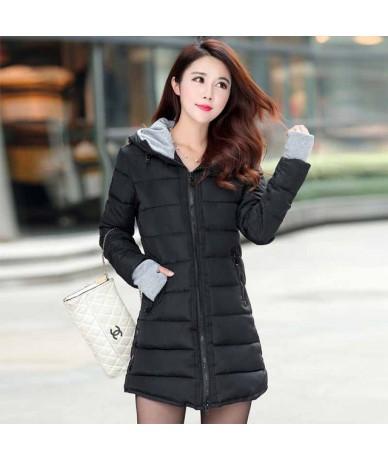 Women Thick Hooded Parkas Warm Winter Jacket Women Solid Coat Female Parka outwear cotton padded coats abrigo mujer - Black ...