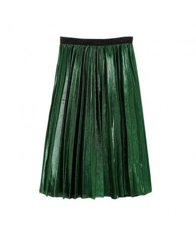 New Women High Waist Metallic Midi Skirt Femme Knee Length Skater Silm Retro Swings Ladies Stretch Midi Pleated Skirt - G - ...