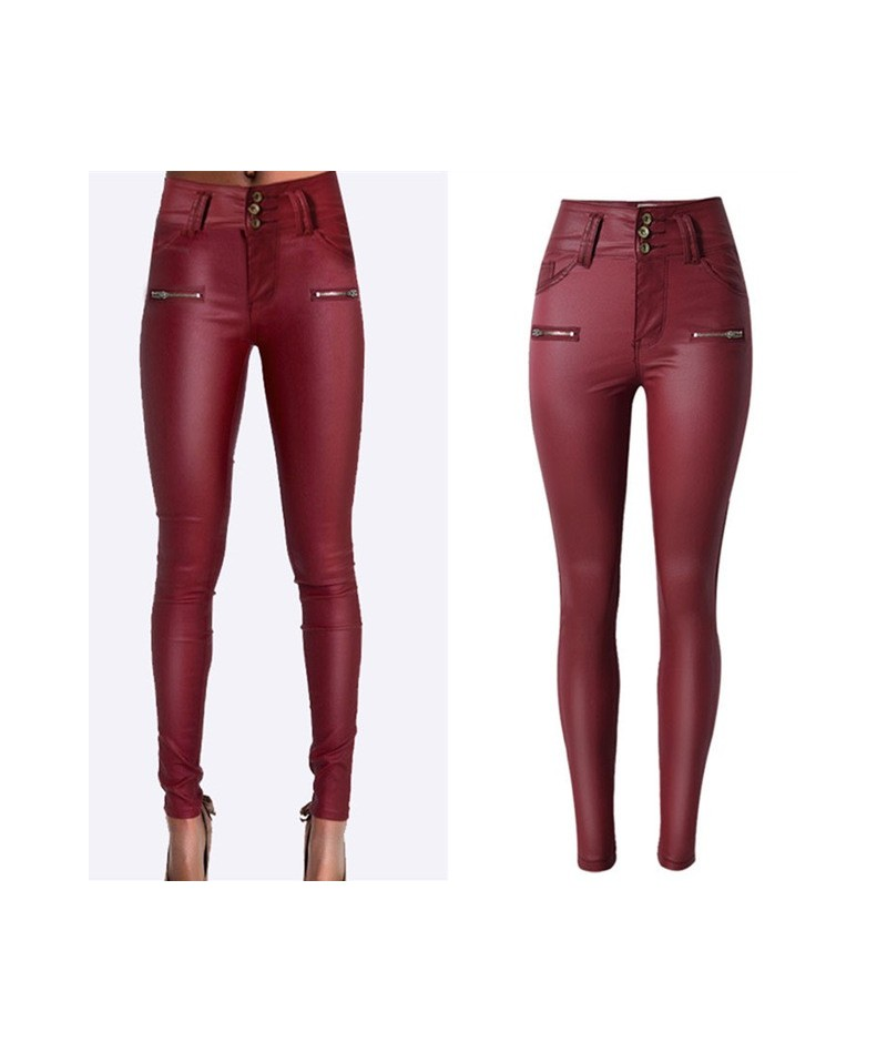 Skinny Pu Leather Pants for Women high Waist Slim Faux Leather Trousers Clothes Pants Autumn Wine Red - As the Picture - 4J3...