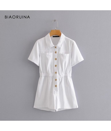 Women White Cotton Single Breasted Playsuit Female Casual Elegant Comfortable Jumpsuit Short Sleeve Turn-down Collar - 33038...