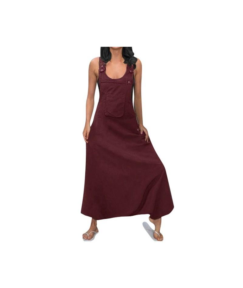 Women Long Jumpsuits Plus Size Women U Neck Sleeveless Backless Side Pockets Baggy Long Jumpsuits summer Casual playsuit E -...