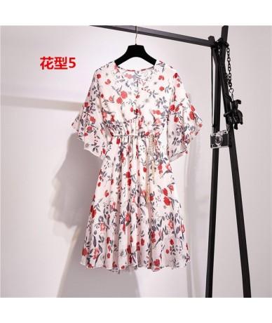 2019 summer new dress women's floral print mini dress female sense V-neck short-sleeved dress evening dress vestidos with li...