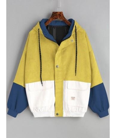Women Harajuku Coat Hooded Color Block Jacket Corduroy Oversize Zipper Pockets Bomber 2018 Fall Winter Vintage Jacket - Yell...