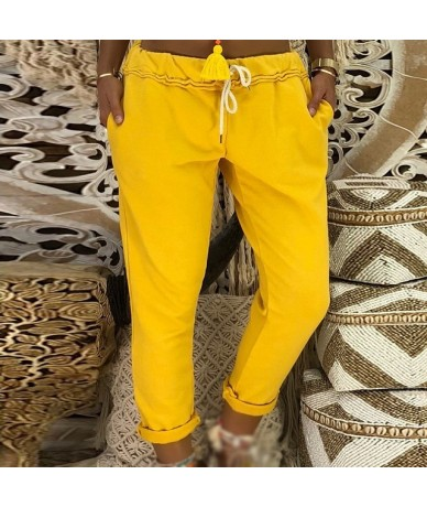 Casual Women Pants Ladies Sportswear Summer Drawstring Jogger Harem Workout Solid Trousers Female - Yellow - 5Z111114183562-2