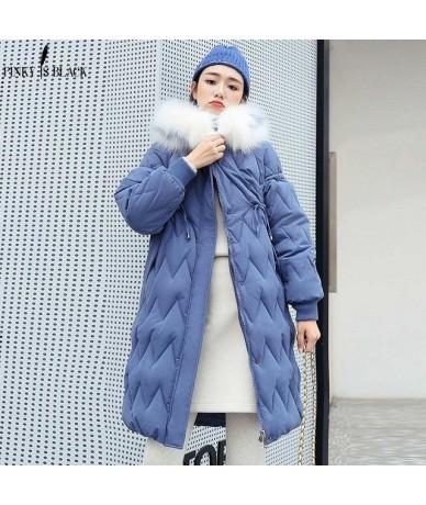 Big Fur Winter Coat Thicken Parkas Women Quilting Hooded Long Winter Jacket Women Cotton Ladies Winter Parkas Coat - Blue - ...