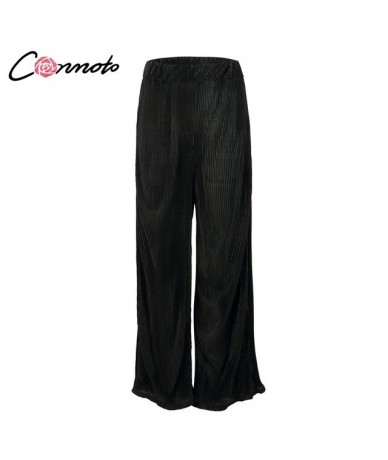 2019 Summer Casual Wide Leg Long Pants Women High Street Stripe Drape Pants Female Black High Waist Long Pants Capris - Blac...