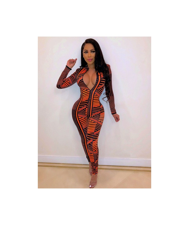 2019 Sexy Print Striped Skinny High Neck Jumpsuit Romper Zipper V Neck Full Sleeve Full Length NZ024 - as picture - 5D111223...