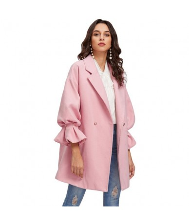 Drop Shoulder Pearl Detail Ruffle Cuff Coat Elegant Coats for Women Pink Long Sleeve Ladies Spring Autumn Coats - Pink - 4U3...