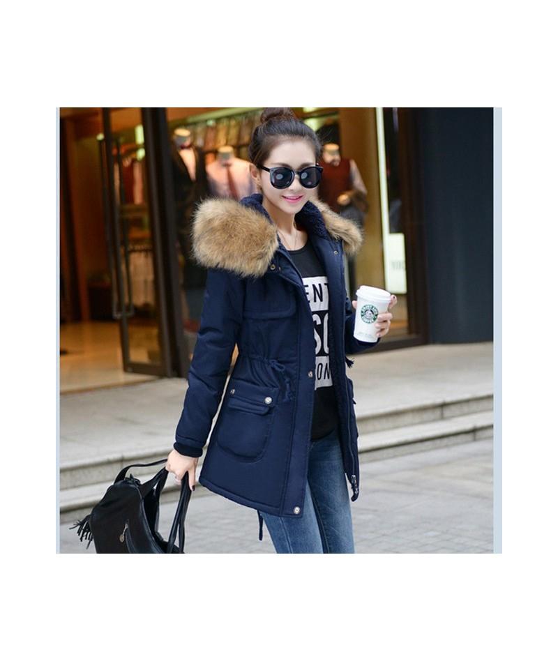 Fashion Autumn Warm Winter Jackets Women Fur Collar Long Parka Plus Size 4xl Casual Cotton Womens Outwear Parka 1223c - 1223...