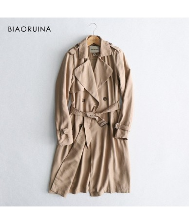 Women Classic Solid Long Trench Coat Female Doube Breasted Trench Sashes England Style Turn-down Collar Outerwear - Khaki - ...