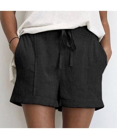 2019 Brand New Summer Women's Shorts Cotton Hemp Loose Waist Wide Legs Short Pants for Female Pants High Waist Casual Shorts...