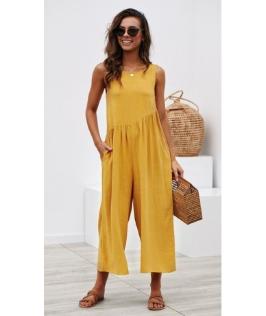 Europe and the United States the new outfit hot style pure color jumpsuits women - YELLOW - 404112195068-6