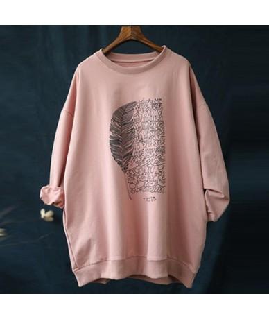 2019 New Casual Floral Print Letter Autumn Cotton Long Women T-shirt Fashion O-neck Pockets Long Sleeve Women T-shirts - Pin...