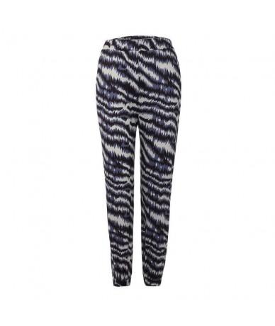 Summer Pant Casual Pants Women High Waist Printing Easy Trousers Long Pants Sandy Beach Pants Pantalones deportivos - Blue -...