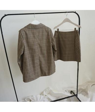 2019 Spring Korean Fashion Women Plaid Blazer Suits Office Lady Formal Vintage Check Blazer Jackets Mini Skirt 2 Pieces Sets...
