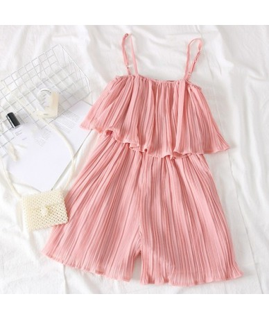 Ruffles Chiffon Pleated Jumpsuit Women Summer Wide Leg Shorts Playsuit 2019 New Solid Sling Strapless Overalls 53252 - Pink ...