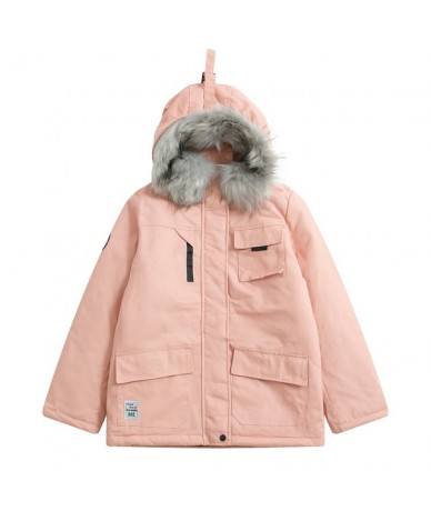 2018 New Womens Winter Jackets Parka Coats Wadded Warm Outerwear With A Hood Big Faux Fur Collar Thickened Black Pink Khaki ...