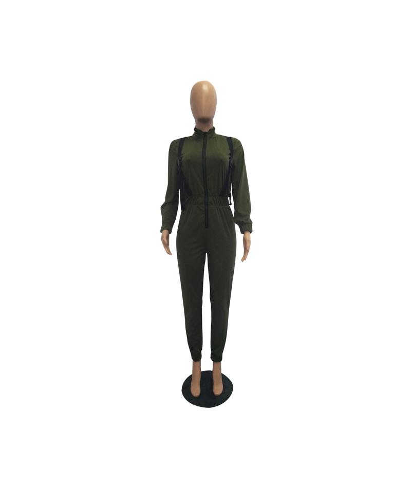 Autumn Winter Women Long Sleeve Fitness Jumpsuit Streetwear Zipper Buckle Jogging Outwear Green Romper Bodycon Overall - Arm...