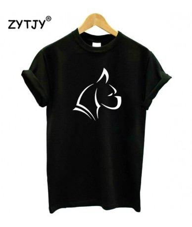 Boxer Puppy Dog Print Women tshirt Cotton Casual Funny t shirt For Lady Girl Top Tee Hipster Tumblr Drop Ship Z-1087 - Black...