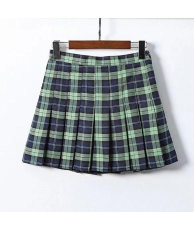 School Mini Women's Skirt Plaid Pleated High Waist Plus Size Skirts Womens Faldas Mujer Moda 2019 Jupe Femme Spodnica - Gree...
