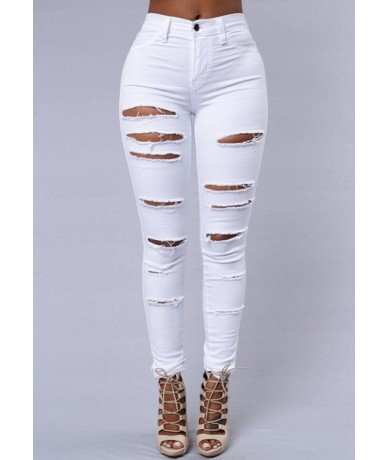 New 2019 Skinny Jeans Women Denim Pants Holes Destroyed Knee Pencil Pants Casual Trousers Black White hole Stretch Ripped Je...