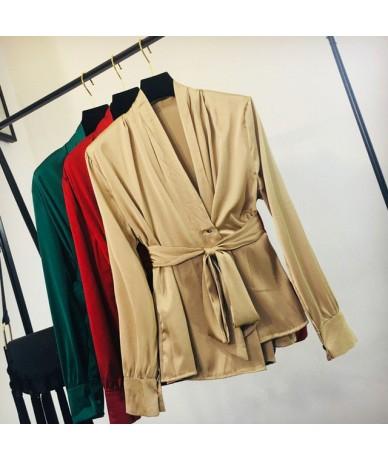 Spring Blusas Mujer De Moda 2019 New Solid Sashes Lace-up Women Blouses Korean Elegant V-Neck Long Sleeve Shirt 43023 - Khak...