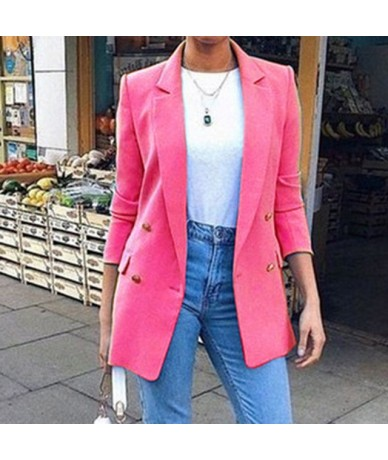 Long Sleeve Solid Color Turn-down Collar Coat Lady Business Jacket Suit Coat Slim Top Women blazers OL Cardigan - W32603RH -...