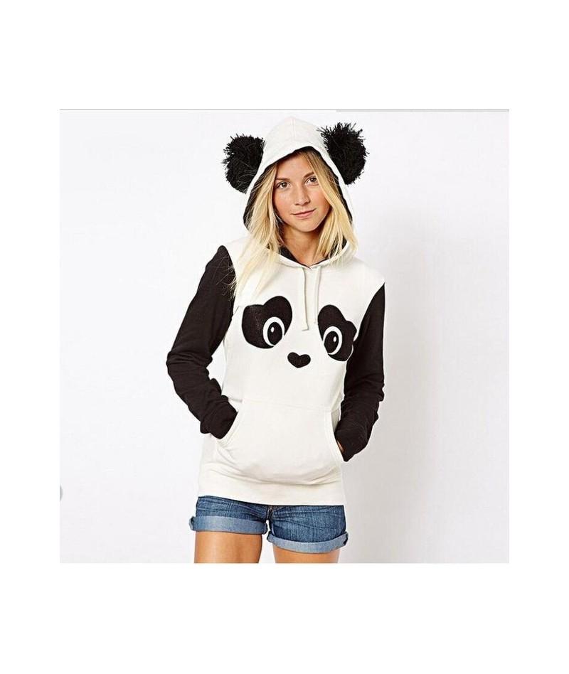 Cute Panda Clothing Color Block Sweatshirt Poleron Mujer 2019 Black White Ear Furry Hoodie Stitching Long Sleeve Hoodies Wom...