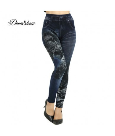 Slim Women Seamless Leggings Faux Denim Jeans Spring Summer Cat Printing Leggings Casual Ankle Length Pencil Pants Thin Flee...