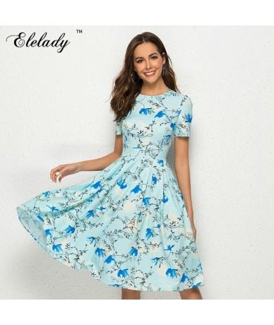 Women Flowers Printing Short Dress Summer Fashion Casual A-line Sundress Elegant Short Sleeve O Neck Sexy Vestidos - sky blu...