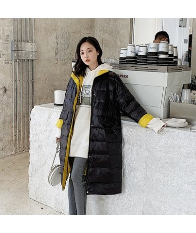 Women Long parkas Winter Jacket coat 2019 Fashion Autumn Patchwork Warm Thin hooded Padded Down Parkas Female Top Clothing C...