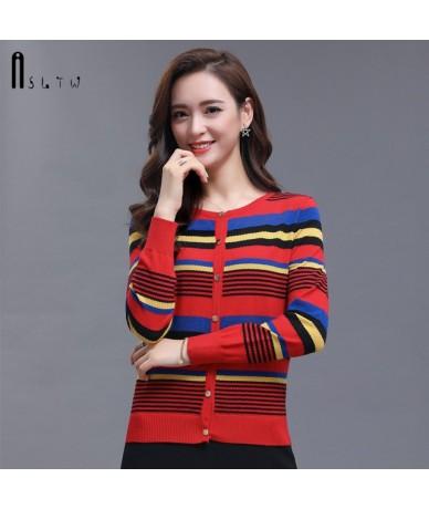 Women's Sweater 2019 Spring O Neck Lady's Sweater Long Sleeve Single Breasted Stripe Casual New Harajuku Cardigan Sweater - ...