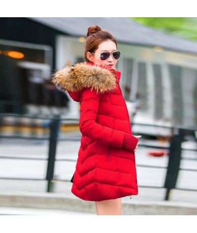 2019 New Winter Jacket Women Hooded Thicken Coat Female Fashion Warm Outwear Down Cotton-Padded false Fox Fur Collar Coat Pa...