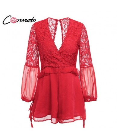Embroidery Lace Party Playsuit Long Sleeve Patchwork Mesh Playsuit Women Sexy Backless Deep V Neck Short Jumpsuit Romper - R...